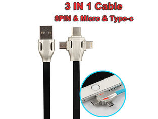 China Micro/8Pin/Type C 3 In 1 Usb Data Extension Cable , Fast Charging Extending USB Cord supplier
