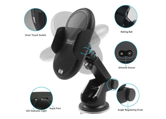 Handlebar Mounted Car Wireless Charger Blue Black ABS PC AC 5V/2A Weight 220g