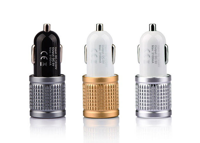High Glossy Aluminum Alloy Bottom Super Usb Car Phone Charger , 5V.3.1A Double USB Car Charger