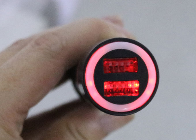 LED Backlight Dual USB 2.1A Vehicle Phone Charger , 12-24V USB Auto Charger Adapter
